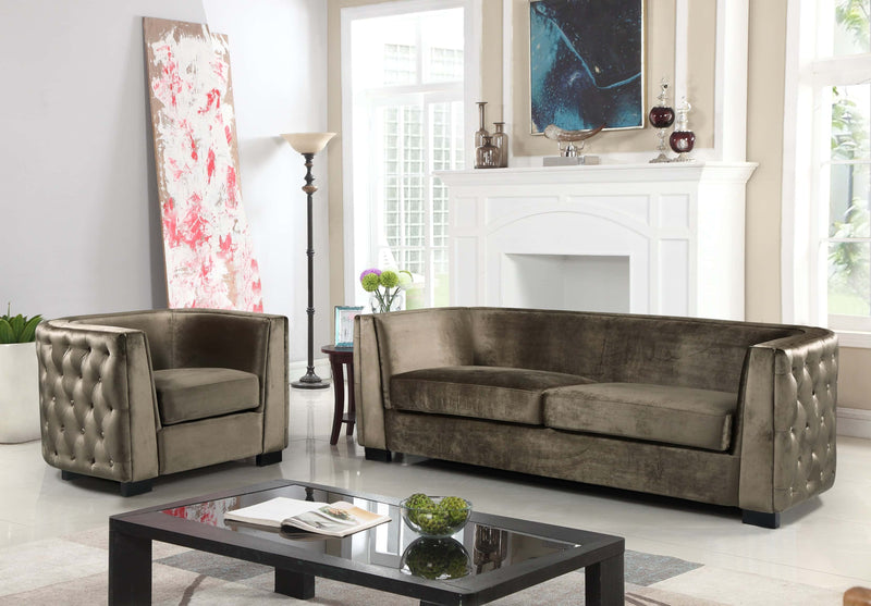 Iconic Home Saratov Sofa Velvet Upholstered Button Tufted Shelter Arm Espresso Wood Legs - Chic Home Design