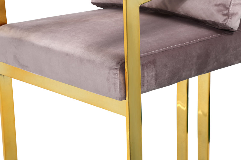 Iconic Home Layla Bar Stool Chair Velvet Upholstered Slope Arm Architectural Gold Metal Frame - Chic Home Design