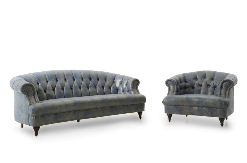 Iconic Home Randalls Club Chair PU Leather Upholstery Button Tufted Rolled Arm Carved Wood Legs Blue - Chic Home Design