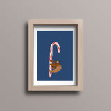 Sloth Dancing on Candy Cane Pole Postcard