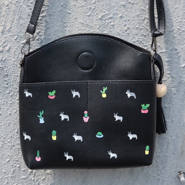Dogs and Cactus Tassel Ball Bag
