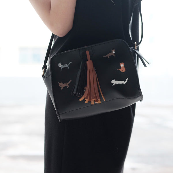 Cat print tassel box bag