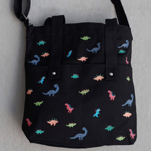dinosaur zipper tote bag