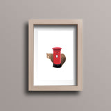 Red Postbox Bear Postcard