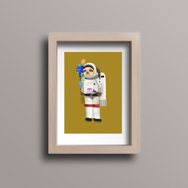 Sloth Astronaut Planet Balloon Postcard