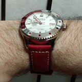 PolAm Hamtramck with shark mesh bracelet & premium Italian leather red straps