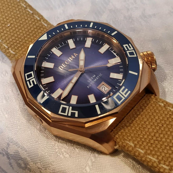 Decima Scylla Limited Edition (Blue) - 500m Swiss Movement CuSn8 Bronze