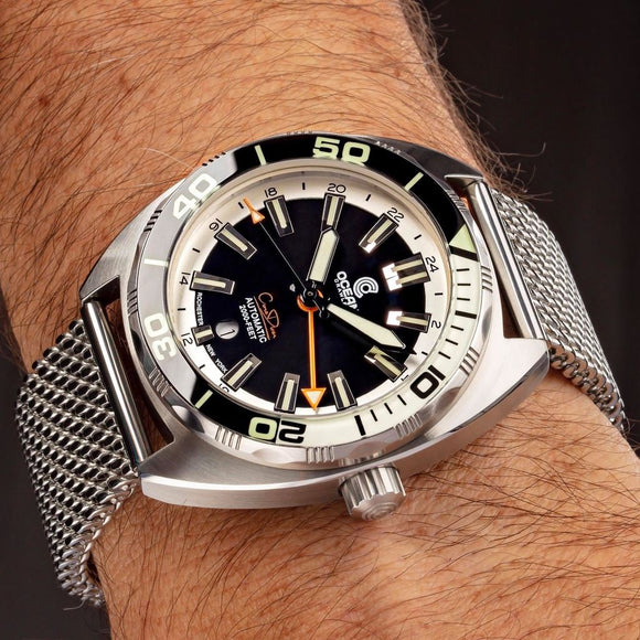 Ocean Crawler Core Diver GMT (Black/White) LE - 600m Swiss Mvmt (Regulated)