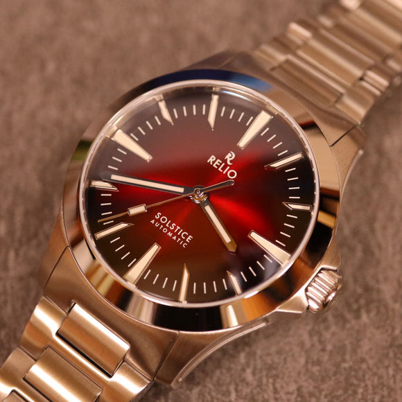 Relio Solstice - Red Sports Watch (Burgundy Fumé Sunburst)