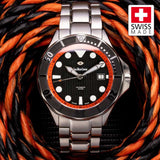 SWC Diver - Orange (Swiss Made Limited Edition) 20x Layers of Super-Luminova