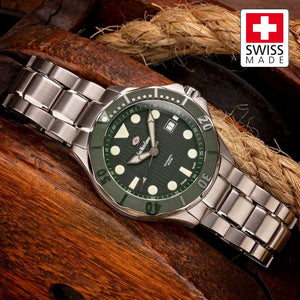 SWC Diver - Green (Swiss Made Limited Edition) 20x Layers of Super-Luminova