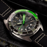 Ocean Crawler Core Diver GMT (Black/Green) LE - 600m Swiss Mvmt (Regulated)