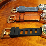 22MM Rubber Dive Strap with CuSn8 Bronze Buckle (Fits Decima Scylla)
