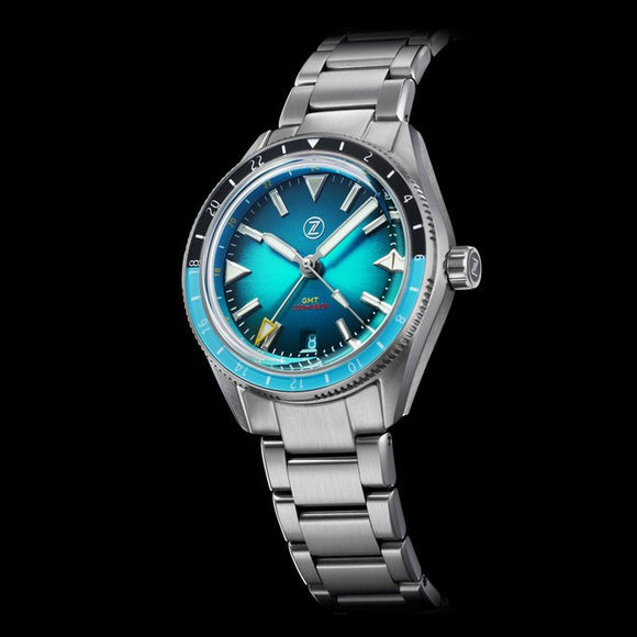 Zelos Horizons GMT v2 - Steel Teal Blue (Swiss ETA 2893)
