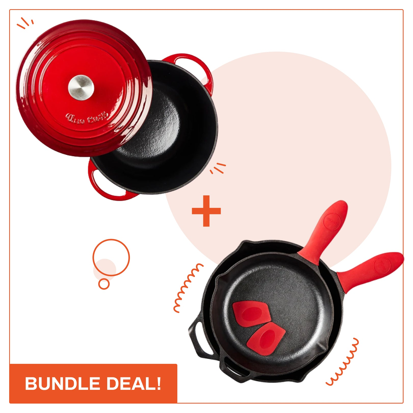 Skillet set and enameled dutch oven bundle