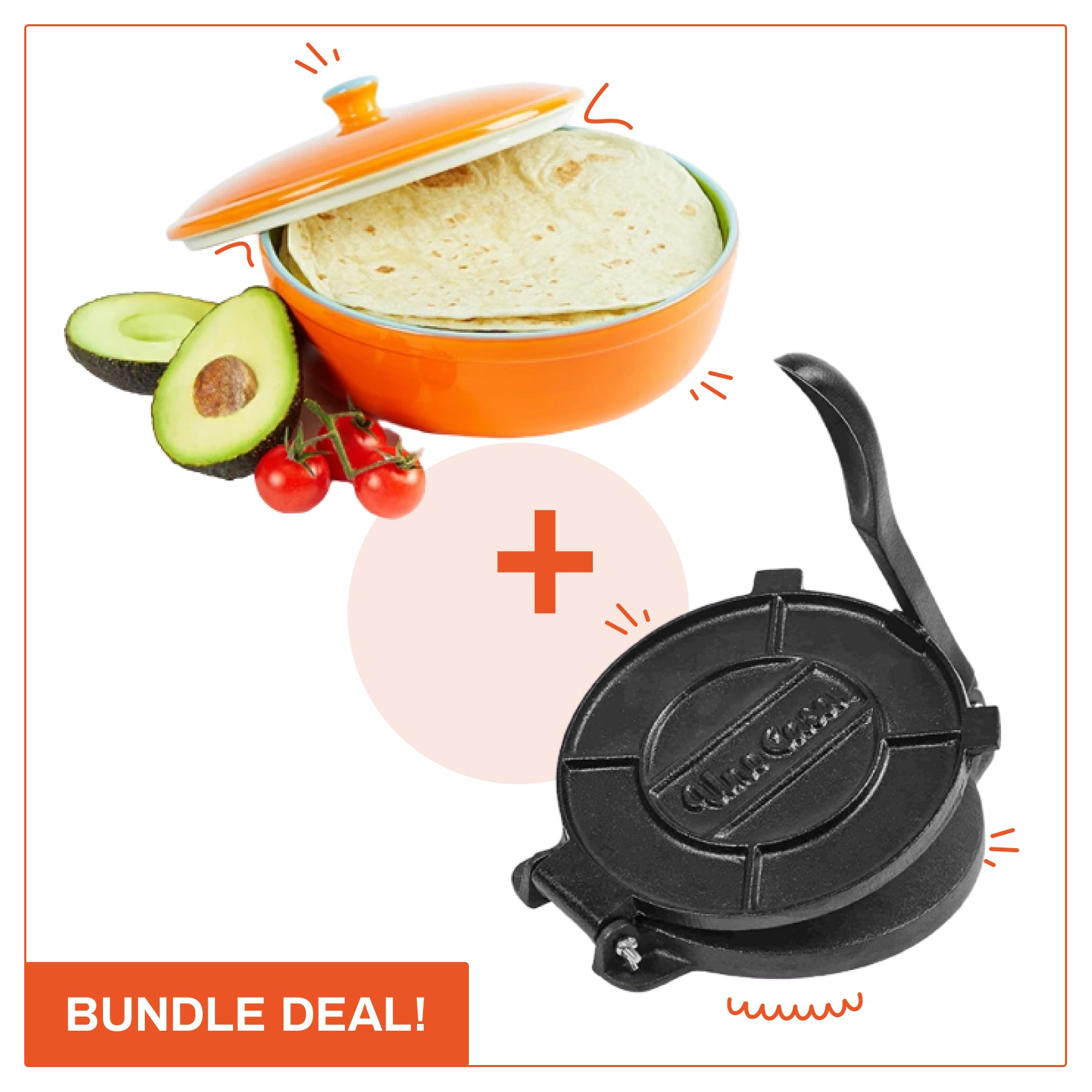 Tortilla Press + Tortilla Warmer bundle