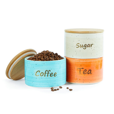 Ceramic Canister Set For Coffee, Tea, Sugar
