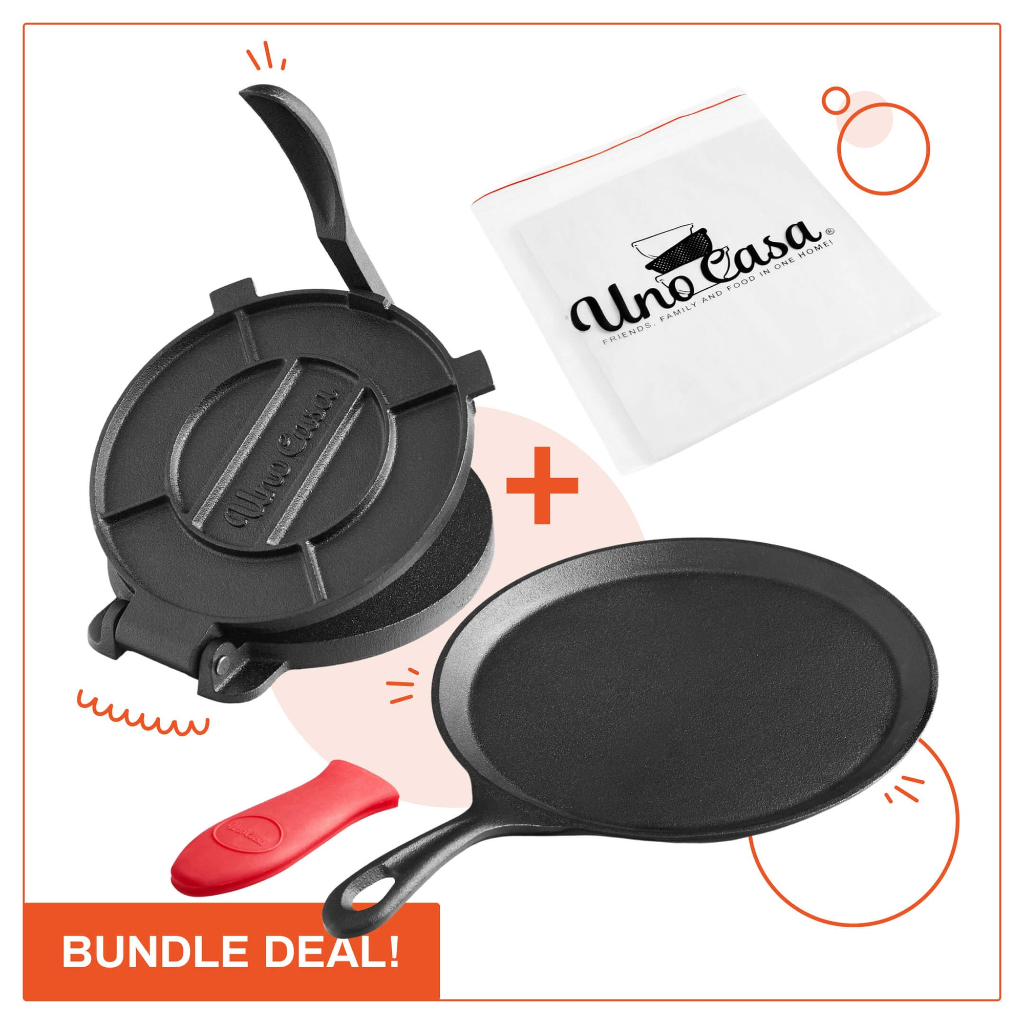 COMAL PAN AND TORTILLA PRESS (8IN) BUNDLE