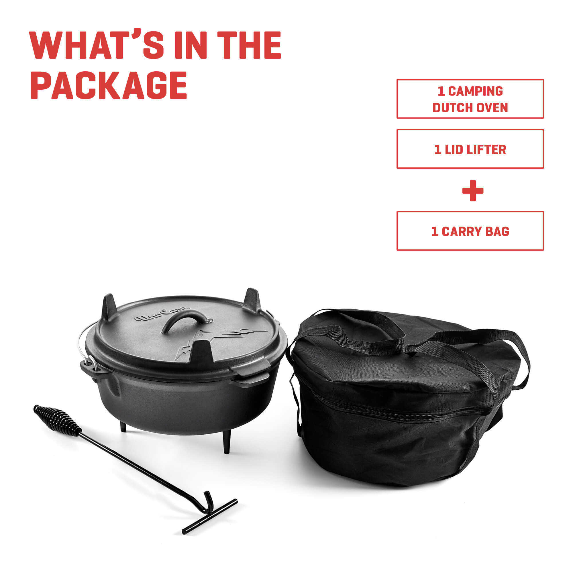 camping dutch oven with tote bag