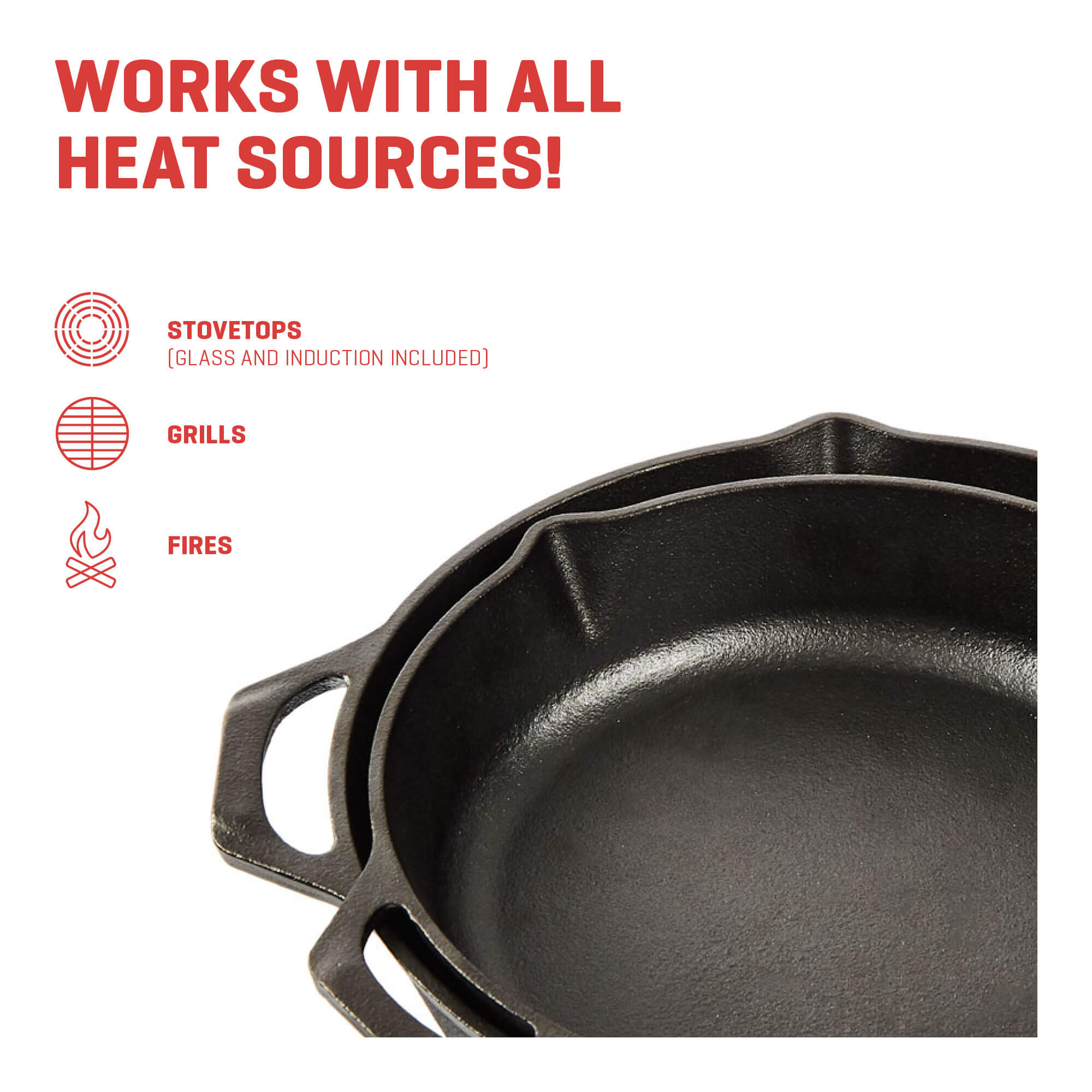 cast iron skillet all heat sources
