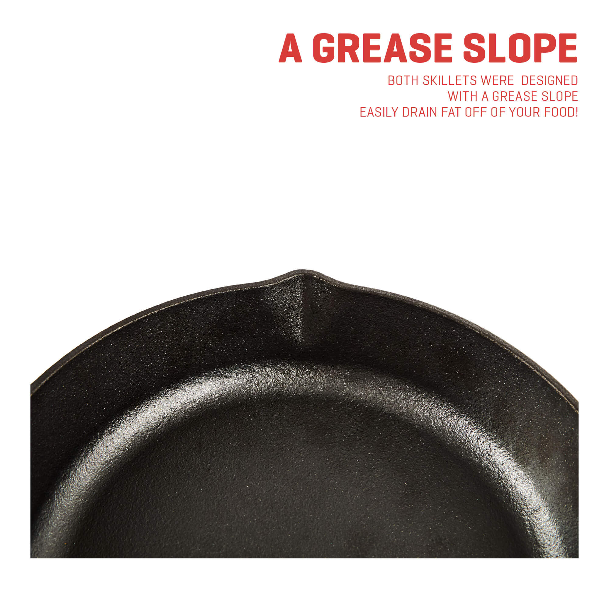 cast iron skillet grease slope