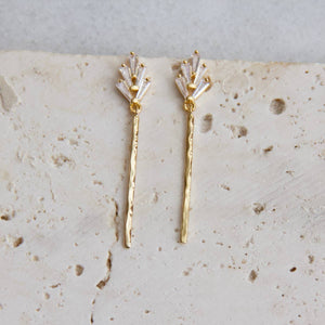 Zircon Stick Earrings