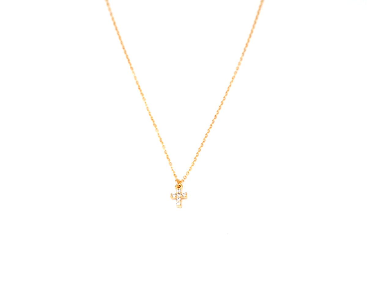Mini CZ Cross Necklace