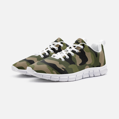 Image of Green Camo Unisex Athletic Sneakers