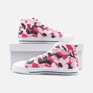 Pink Camo Unisex High Top Canvas Shoes