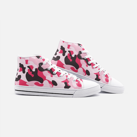 Image of Pink Camo Unisex High Top Canvas Shoes