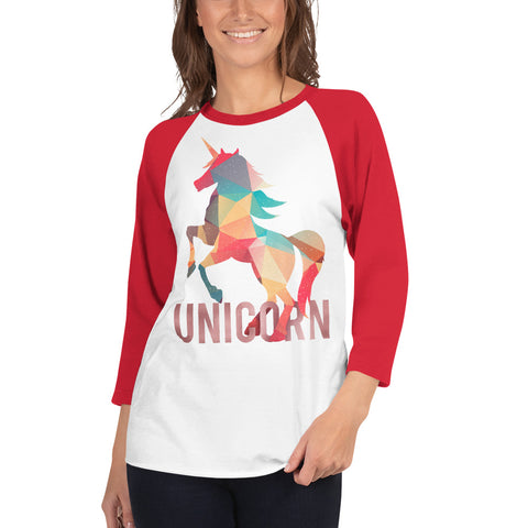 Lovely Unicorn 3/4 Sleeve Raglan Shirt