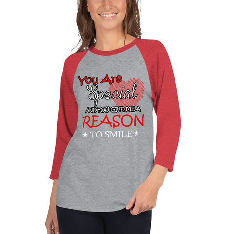 Reason To Smile 3/4 sleeve raglan shirt