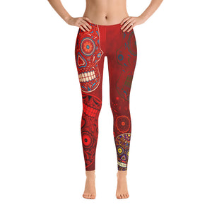 Red Sugar Skull Leggings - Feltoo