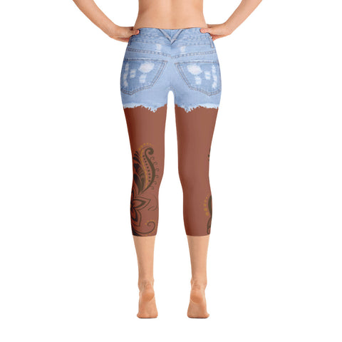 Image of Jean Shorts Brown Skin-tone Capri
