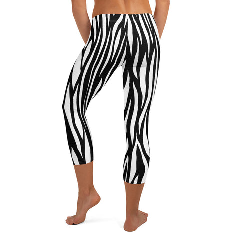 Image of Zebra Pattern Capri Leggings