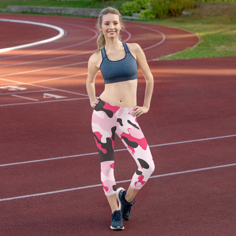 Image of Pink Camo Capri Leggings