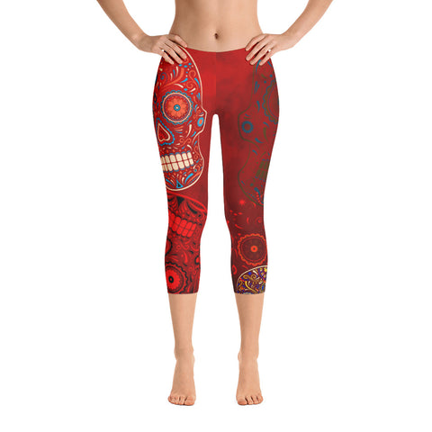 Sugar Skull Capri - Red