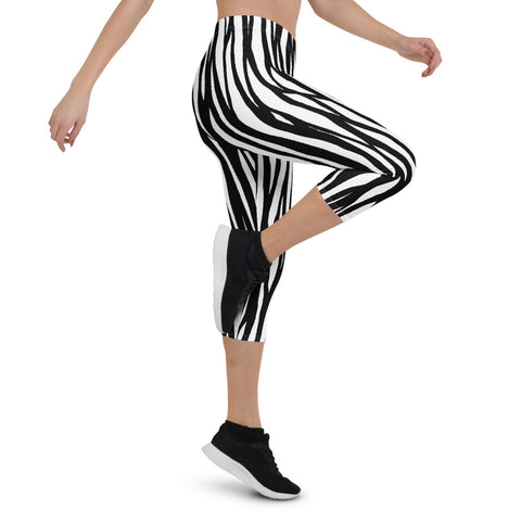Zebra Pattern Capri Leggings