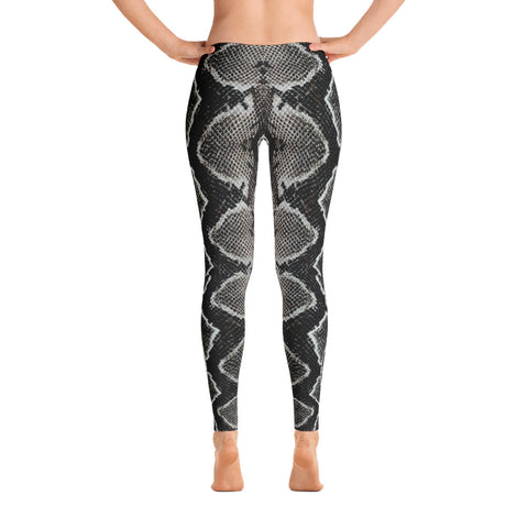 Snake Skin Print Leggings - Black