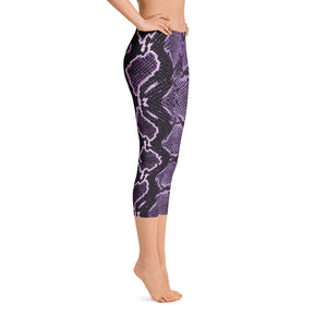 Snake Print Capri Leggings - Purple
