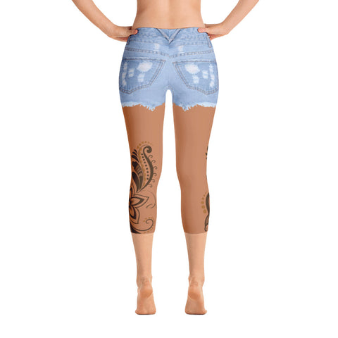 Image of Jean Shorts Tan Skin-tone Capri