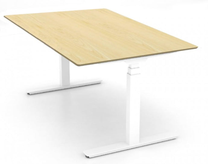 Wood laminate standing desk with white adjustable frame