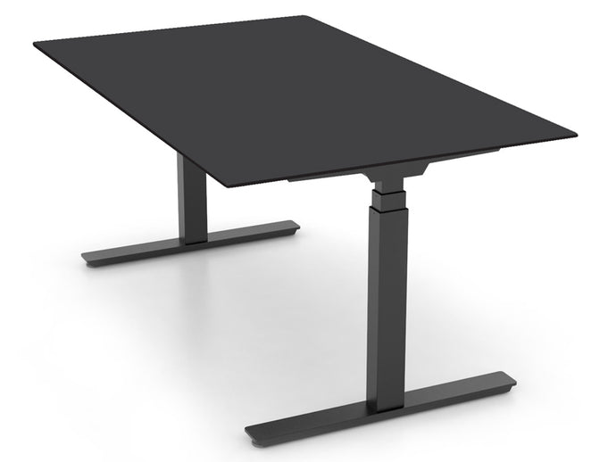 Adjustable sit-stand desk with black laminate desktop