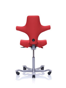 HAG Capicso Chair with red upholstery and grey five star base