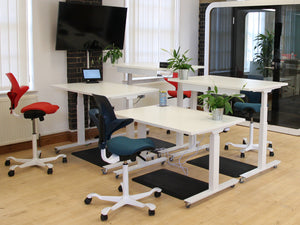 Aura sit-stand desks with white laminate desktops (5-year warranty)
