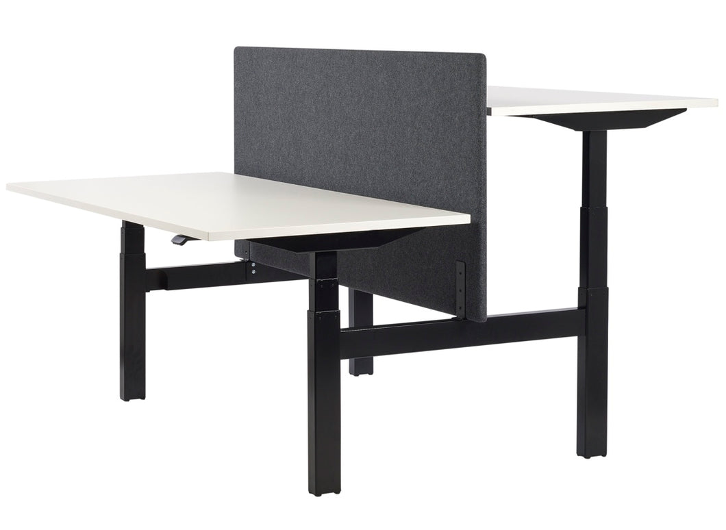Standing bench desk, black frame with white desktops