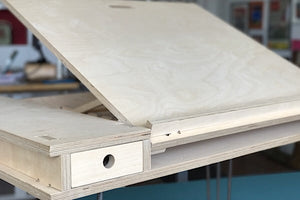 Standing easel desk for height and work surface adjustability