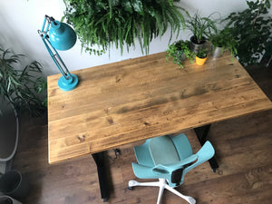 Reclaimed scaffold standing desk, industrial design office desk from Flomotion