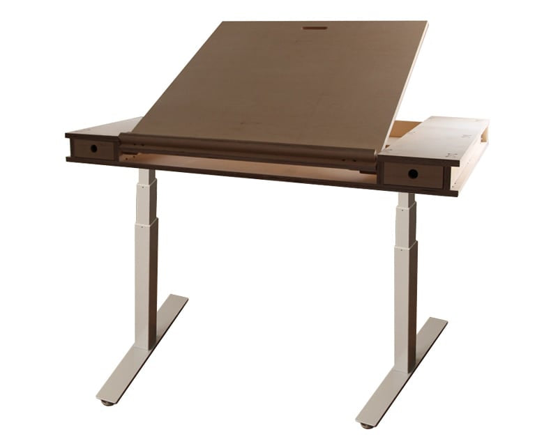 Tilting easel standing desk with plywood top