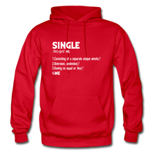 "Load image into Gallery viewer, ""SINGLE"" Unisex Hoodie (4 fashion colors) - red"